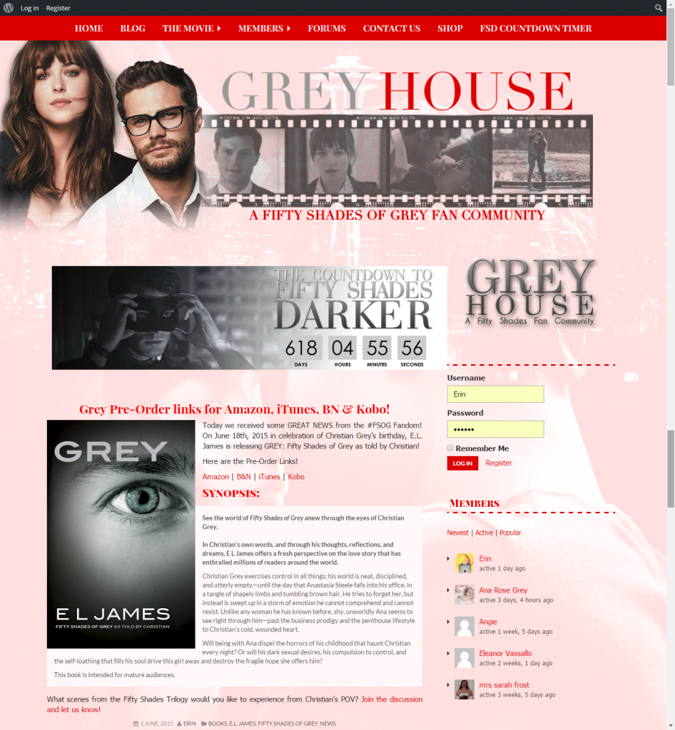 Fifty Shades of Grey Fan Site Design